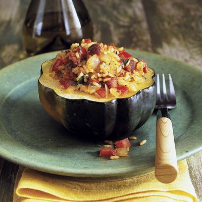 Pair this sausage-stuffed squash with a simple green salad for a delicious, satisfying meal. #dinnerideas #comfortfood