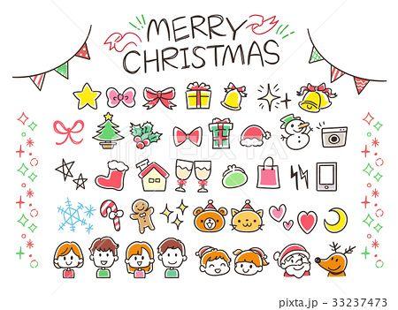 クリスマスのガーリーな手描き風アイコンセット カラフル