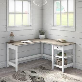 Cletus L Shape Computer Desk L Shaped Desk Modern Farmhouse Desk Desk Storage