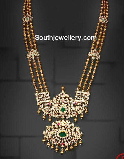 Gold Balls Haram with Pacchi Pendant - Indian Jewellery Designs