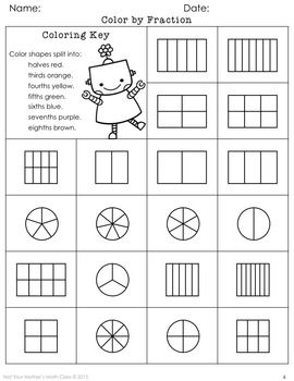 Coloring Fractions Comparing Fractions Fractions Improper