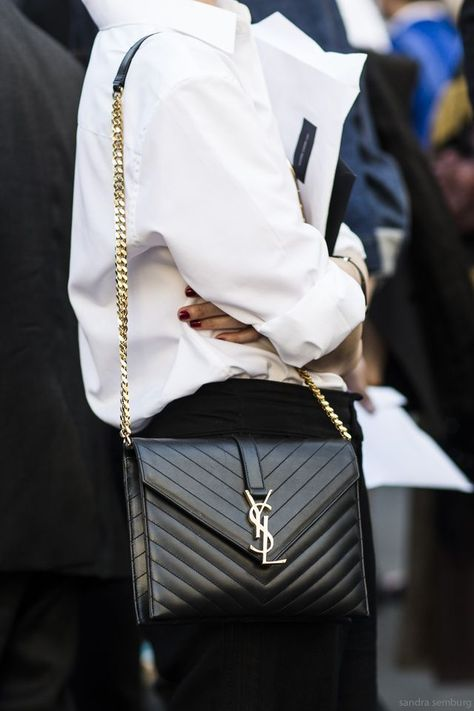 Yves St Laurent- accessories-classic bag fall winter 2016 paired with white shirt and black chinos