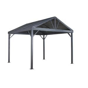 Palram Martinique 5000 12 Ft X 16 Ft Hard Top Gazebo 704672 The Home Depot Aluminum Gazebo Gazebo Steel Roof Panels