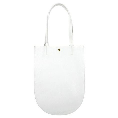 Minor History Half Moon White Pebble Leather Tote Bag