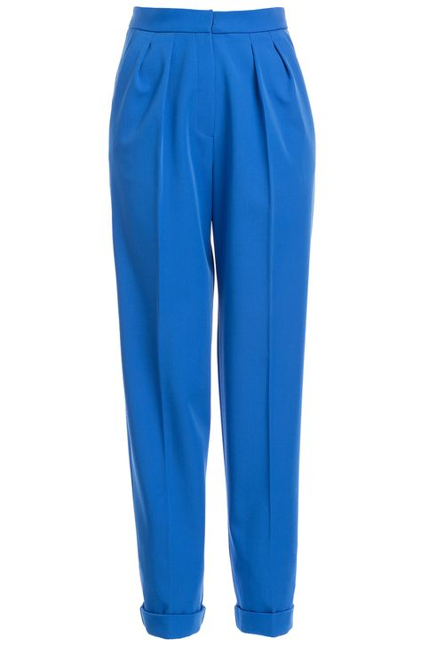 Known for her contemporary style and love of bold color, Roksanda Ilincic doesn't disappoint with these electric blue tapered trousers. The wool blend will keep them structured from morning until night #Stylebop