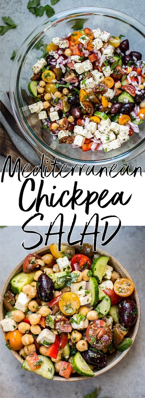 Chickpea Salad This Mediterranean chickpea salad has all the flavors of a classic Greek salad plus hearty chickpeas and fresh oregano and parsley for an extra pop of flavor. A wonderful light meal or side dish!This Mediterranean chickpea salad has all the Mediterranean Chickpea Salad, Mediterranean Diet Recipes, Greek Chickpea Salad, Mediterranean Salad Recipe, Mediterranean Appetizers, Mediterranean Bowls, Greek Recipes, Light Recipes, Healthy Salad Recipes