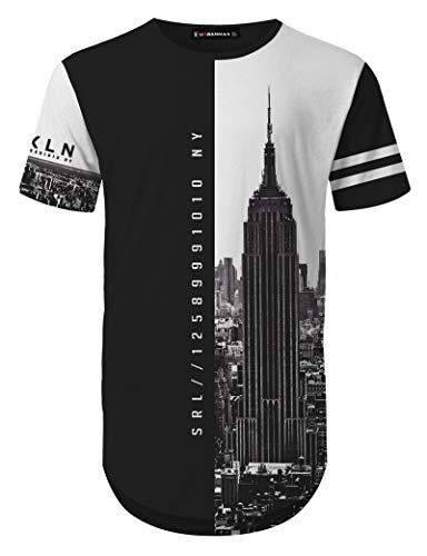 3D Printed T Shirts New York Fashion Black White Floral Casual Mens Hipster Top Tees