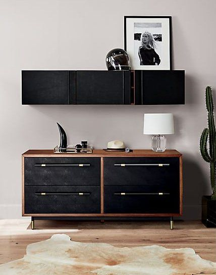 Edgy Ledge Genuine Black Leather Puts A Handsome Face On Hardworking Wall Storage Solid Acacia Wall Mounted C Low Dresser Modern Storage Cabinet Leather Wall