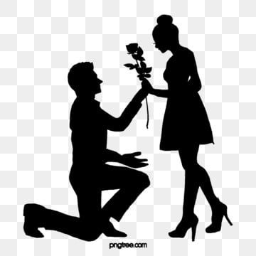 Boys Propose Flowers To Girls To Give A Black Silhouette Schoolboy Propose Flower Png Transparent Clipart Image And Psd File For Free Download Black Silhouette Black And White Cartoon Silhouette Png