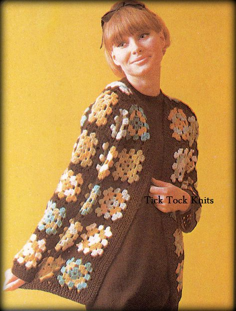 PDF Crochet Pattern Instant Download Granny Square Hooded Jacket BOHO  1970s Coat Womens Crochet Pattern