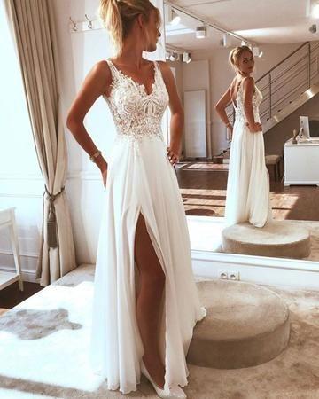 Romantic Wedding Dress Chiffon Wedding Dress A Line Wedding Dress V Neck Wedding Dress W370 From Babystyle In 2020 Wedding Dress Chiffon Summer Wedding Dress Beach Wedding Dresses