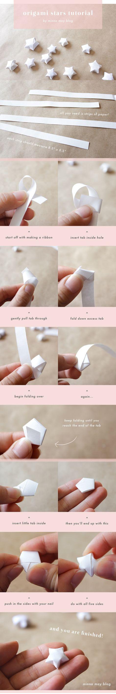 origami estrellas tutorial. Acabo de hacer uno y fue super divertido. En cierto modo me quiero una razón para hacer grandes cantidades de estos. @ Home Ideas y Diseños