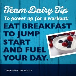 Here's a Team Dairy Tip: Eat yogurt as part of a nutrient-rich breakfast to energize you for the busy day ahead.