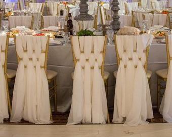 Chiffon Chiavari Chair Sash Set Of 6 Sashes Wedding Chair Sashes