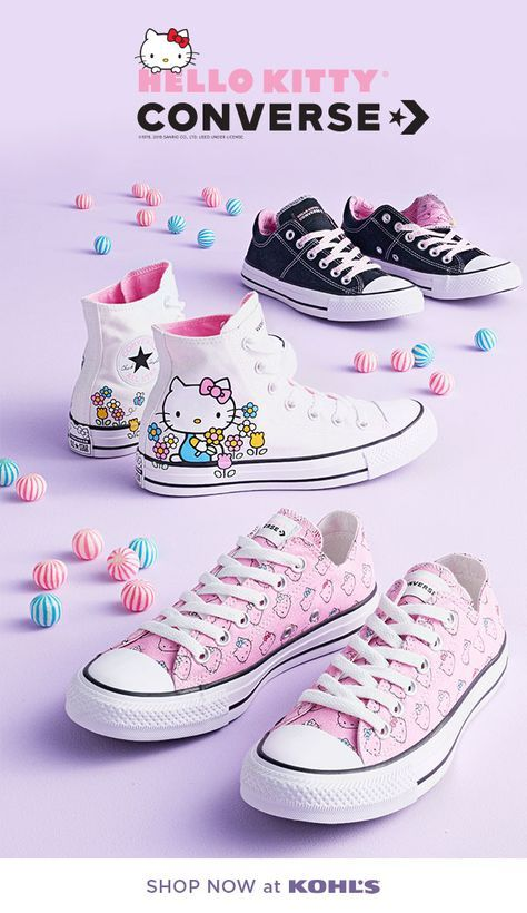 437ebf223 Find the cutest Hello Kitty Converse shoes, exclusively at Kohl's. Get your  paws on this iconic collaboration. Hello Kitty + Converse = The perfect  dose of ...