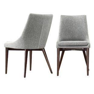 Modern Contemporary Gray Velvet Side Chair Allmodern Linen