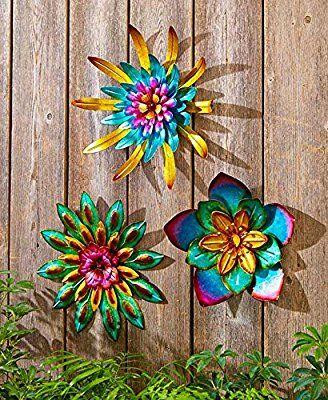 Amazon Com Metal Outdoor Wall Art Metallic Garden Flowers Combo 3 Pack Garden Outdoor Outdoor Metal Wall Art Metal Tree Wall Art Outdoor Wall Art