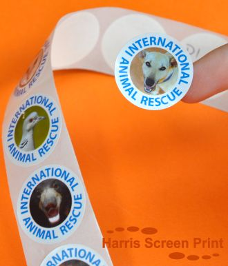 Charity fundraising stickers digitally printed full colour and supplied on rolls