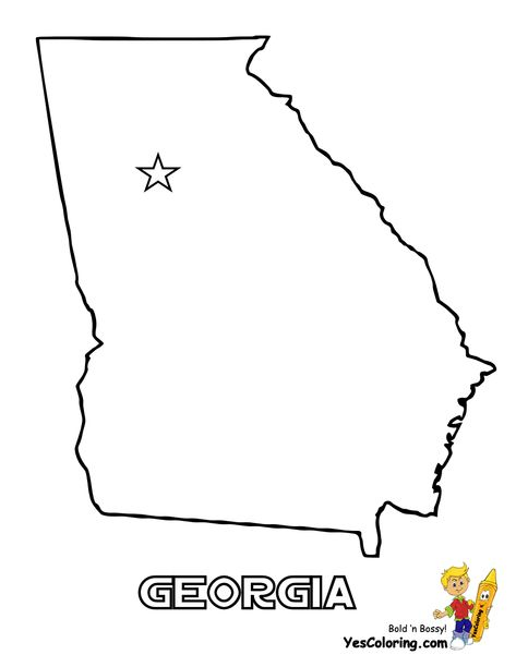 Free Map Of Each State Flag Coloring Pages Georgia Map