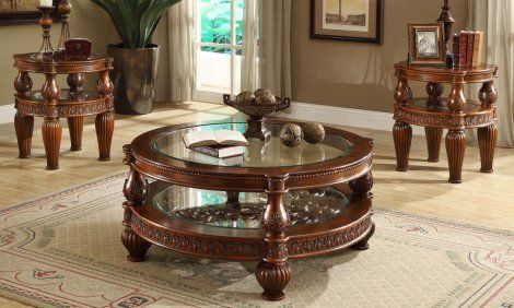Traditional Coffee Table Set 3 Pcs In Brown Wood Traditional Style Homey Design Hd 1521 Victorian Living Room Furniture Mahogany Coffee Table Traditional Coffee Table Traditional coffee table sets