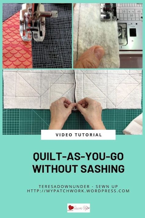 Quilt-as-you-go without sashing – Turnabout patchwork QAL (Sewn up, TeresaDownUnder) Quilting For Beginners, Quilting Tips, Quilting Tutorials, Quilting Projects, Quilting Designs, Sewing Projects, Sewing Ideas, Beginner Quilting, Sewing Tutorials