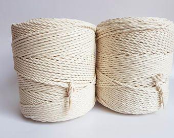 decor craft DIY cord, Triple twisted Macrame cord 5 mm  NATURAL Cotton cord 100 m Twisted 100/% cotton macrame rope macrame tarn