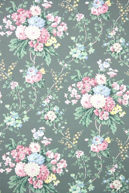1950s Floral Vintage Wallpaper Floral Wallpaper Iphone Vintage