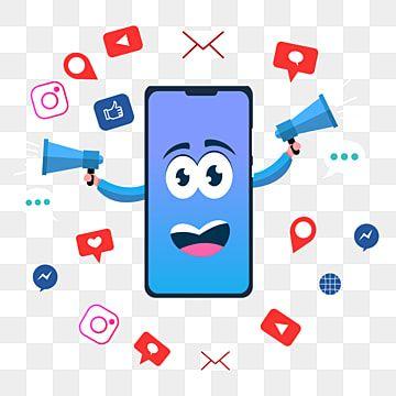 Concepto De Marketing De Redes Sociales Personaje De Telefono Inteligente Imagenes Predisenadas De Redes Sociales Social Medios De Comunicacion Png Y Vector In 2021 Marketing Concept Web Template Design Banner Design