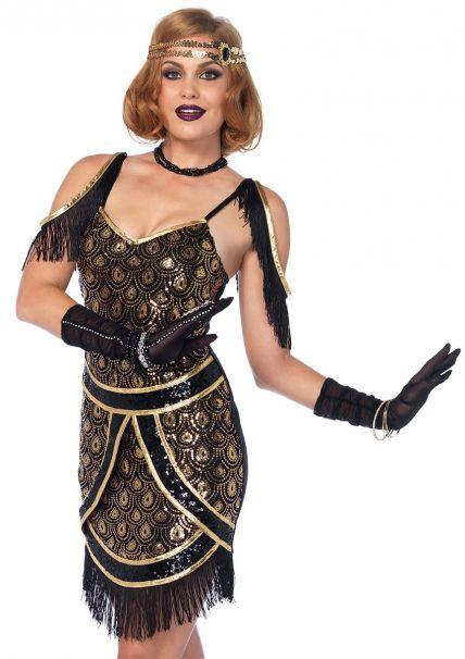 Flapper Roaring 20/'s Speakeasy Fancy Dress Halloween Plus Size Adult Costume