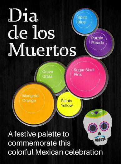 This Festive Color Palette Will Set The Tone For Celebrating Dia De Los Muertos Mexican Celebrations Color Mexican Colors