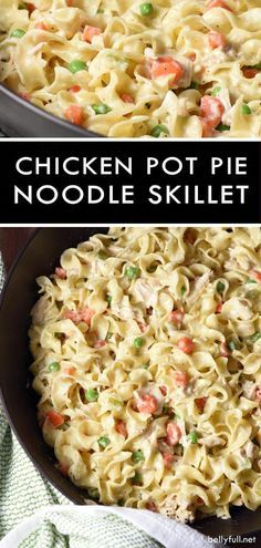 This Chicken Pot Pie Noodle Skillet is classic chicken pot pie transformed into a skillet dish with noodles instead of a crust. Easy delicious weeknight meal! #chickenpotpie #chickenpotpieskillet #chickenpotpienoodleskillet #potpie #skillet #recipe #bellyfull