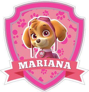 Lindo esse Escudo da Patrulha Canina com o nome Mariana, para você imprimir e cortar.