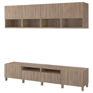 Besta Combinaison Meuble Tv Motif Noyer Teinte Gris Lappviken Stubbarp Motif Noyer Teinte Gris 240x42x230 Cm En 2020 Meuble Tv Rangement Meuble Ikea