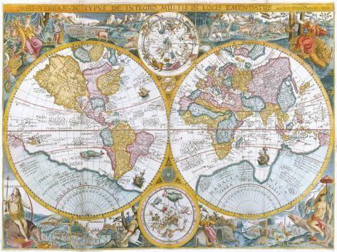 Orbis Terrarum Typus De Intero Multis In Locis Emendatus 1594 Premium Giclee Print Petrus Plancius Art Com Cartografie