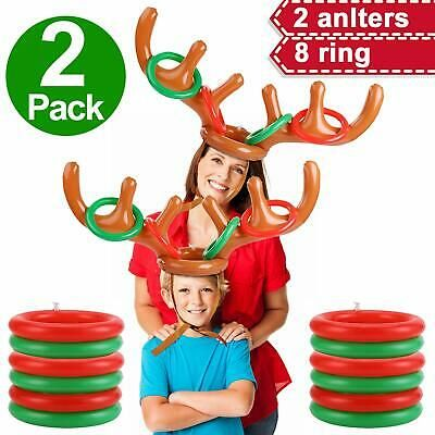 Antler Reindeer Hat Christmas Party Ring Toss Game Inflatable Xmas Gifts Toys