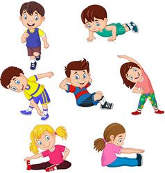 Cartoon kids yoga with different yoga poses vector image on ...