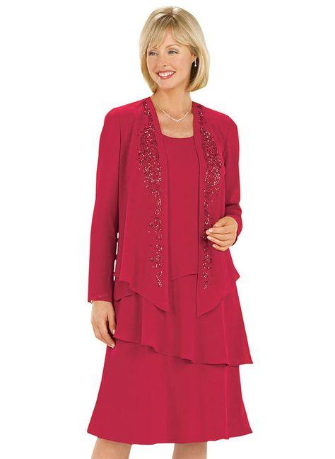 Tiered Beaded Jacket Dress at http://www.AmeriMark.com.  #amerimark #jacketdress #specialoccasindress #partydress