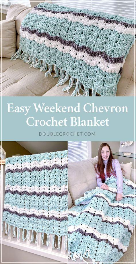 Easy Weekend Chevron Crochet Blanket Pattern - Double Crochet Easy Weekend Chevron Crochet Blanket Pattern The chevron crochet blanket, often called the ripple crochet blanket, is one of the classic crochet patterns that… Crochet Afghans, Crochet Ripple Blanket, Crochet Motifs, Afghan Crochet Patterns, Ripple Afghan, Crochet Blanket Stitches, Chevron Crochet Blanket Pattern Baby, Crocheted Baby Blankets, Free Easy Crochet Patterns