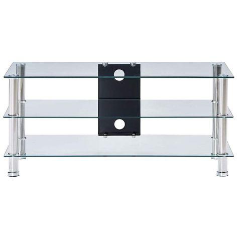 vidaXL TV Stand Transparent 90x40x40 cm Tempered Glass