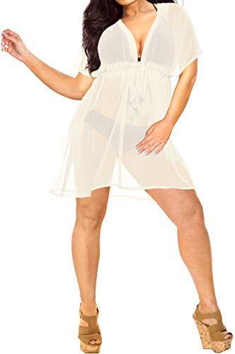 LA LEELA Cover Ups for Swimwear Women Chiffon Blouse Sheer Swim Bathing Suit D
