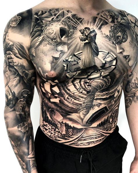 Matias Noble S Black And Grey Realistic Tattoo Tattoo Artists Chest Tattoo Men Chest Tattoo