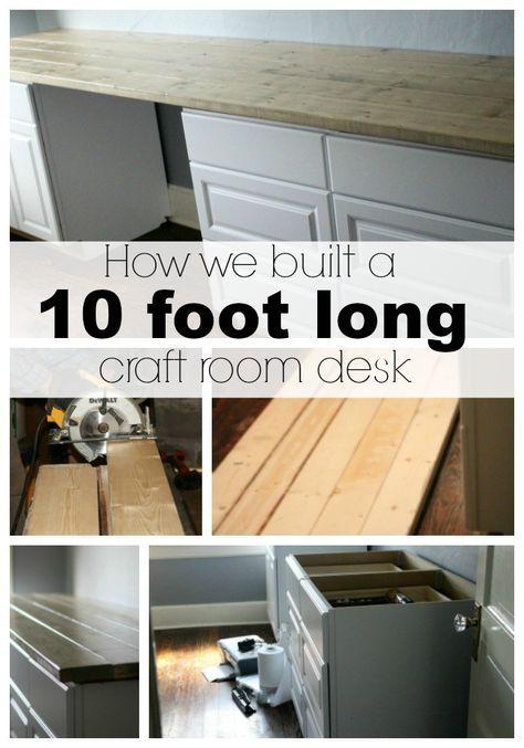 Ten Foot Office Or Craft Room Desk Tutorial Craft Room Desk Room Desk Craft Room Office