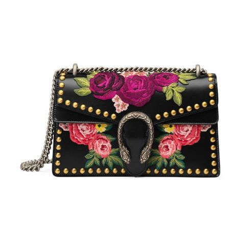 Dionysus Small Embroidered Shoulder Bag by Gucci. Gucci floral-embroidered  leather shoulder bag from the