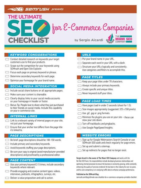 SEO Check List for eCommerce Website