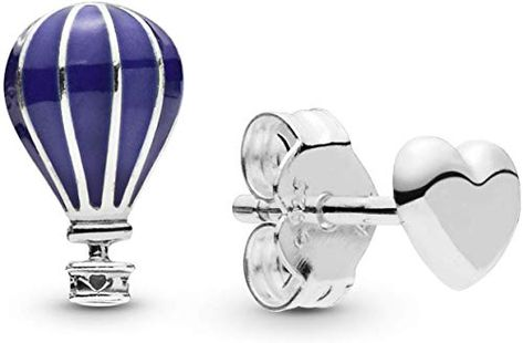 Girls Hot Air Balloon Colorful Ear Studs 925 Sterling Silver