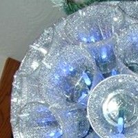 """Basic 13"""" Sparkleball made from plastic cups, using hole-puncher and zip-ties (or stapler) #DIY #ideas #lampshade #lamp"""