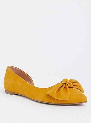 Mustard Faux Suede D'Orsay Flat (Wide