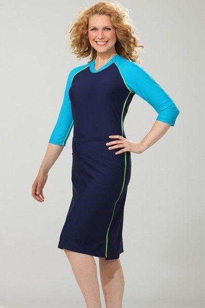 Long sleeve modest swim dress