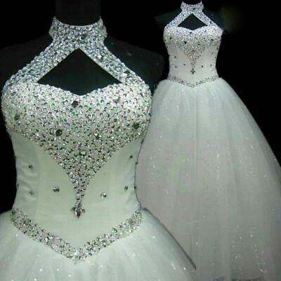 Ebay Ad New Halter Beading Stone Wedding Dresses White Ivory Bridal Gown Custom Size Ball Gowns Wedding Bridal Ball Gown Wedding Guest Gowns