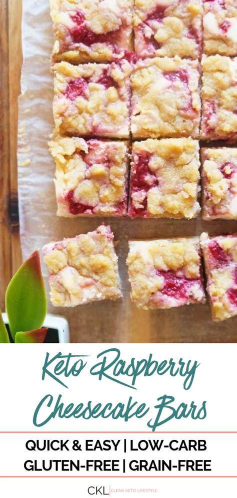 Clean Keto Recipe | Keto Raspberry Cheesecake Almond Bars